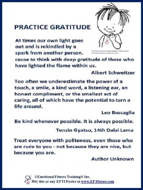 #EmotionalIntelligencePoster Coach Practice Gratitude quotes.