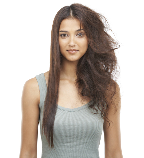 woman with dry, frizzy hair
