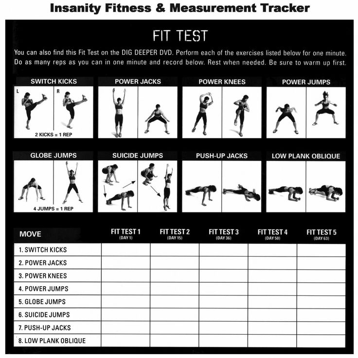 Insanity Fit Test Tracking Sheet | Fitness and Workout